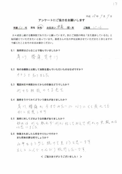 津島市 Mさんアンケート