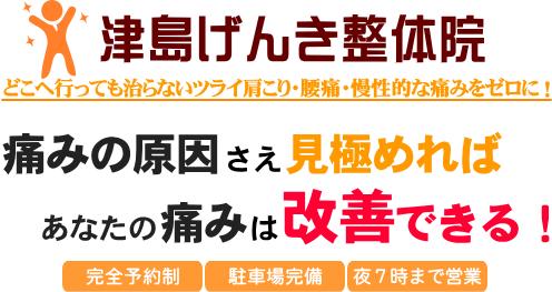 愛知県津島市の整体 痛みの原因を即座に見極め改善!津島げんき整体院