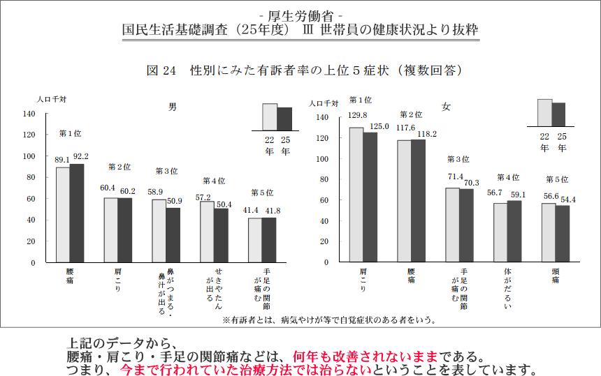 国際生活基礎調査(25年度)Ⅲ世帯員の健康状況より抜粋